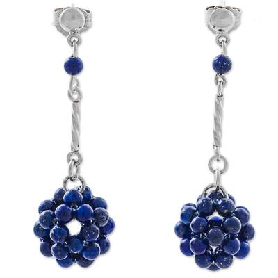 Blue Lapis Lazuli and Silver Dangle Earring from Peru