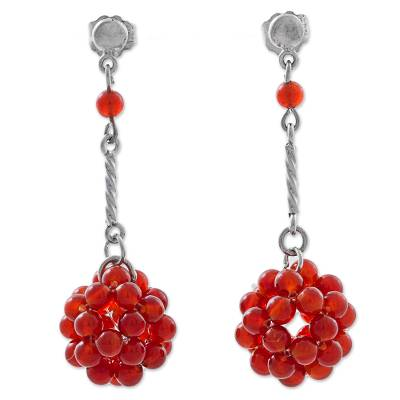 Red Carnelian and Silver Dangle Earrings from Peru