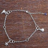Sterling silver charm anklet, 'Animals of the Sea' - Zircon Sterling Silver Charm Bracelet Sea Life from Peru