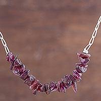 Garnet beaded necklace, 'Garnet Treasures' - Garnet and Sterling Silver Beaded Necklace from Peru