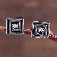 Sterling silver button earrings, 'Maze Treasures' - Square Sterling Silver Button Earrings Peru Artisan Jewelry