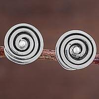 Sterling silver button earrings, 'Mesmerizing Swirl' - Sterling Silver Button Earrings with Geometric Swirl Pattern