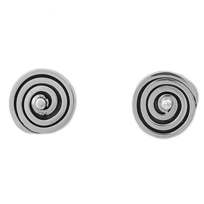 Sterling Silver Button Earrings with Geometric Swirl Pattern