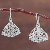 Sterling silver dangle earrings, 'Mini Hearts' - Folded Sterling Silver Dangle Earrings with Heart Cutouts