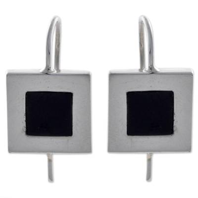 Square Sterling Silver and Obsidian Drop Earrings from Peru