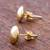 Gold plated stud earrings, 'Circles of Paradise' - Gold Plated Silver Stud Earrings Circular from Peru (image 2c) thumbail