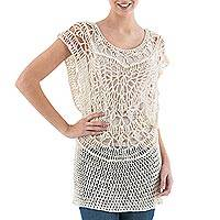Pima cotton crocheted vest, 'Arequipa Alabaster' - Hand Crocheted Tunic Vest in Light Beige Cotton