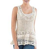Pima cotton crocheted top, 'Marble Diva' - Hand Crocheted Sleeveless Top in Ivory Pima Cotton