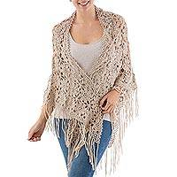 100% alpaca shawl, 'Andean Flower' - Hand Crocheted 100% Alpaca Shawl with Fringes from Peru