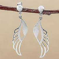 Sterling silver dangle earrings, 'Protection Wings' - Sterling Silver Dangle Earrings Wing Shape from Peru