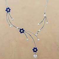 Sodalite pendant necklace, 'Flower Branch' - Sterling Silver and Sodalite Pendant Necklace from Peru
