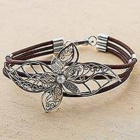 Sterling silver filigree pendant bracelet, 'Florid Lily in Brown' - Sterling Silver and Brown Leather Flower Bracelet