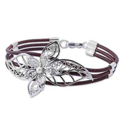 Sterling Silver and Brown Leather Flower Bracelet