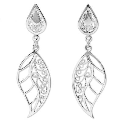 Sterling Silver Dangle Earrings Leaf Shape from Peru
