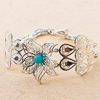 Amazonite link bracelet, 'Amaryllis Delight' - Hand Made Amazonite Link Bracelet Floral from Peru