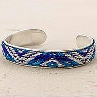 Sterling Silver And Wool Cuff Bracelet Turquoise Pyramids (peru)
