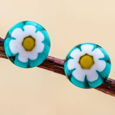 Blown glass flower stud earrings, White Chamomile