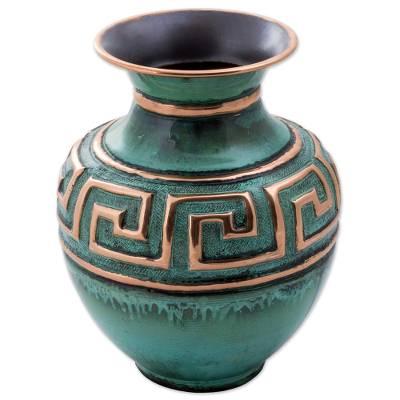 Copper and bronze decorative vase, 'Andean Character' - Copper and Bronze Decorative Vase Green from Peru