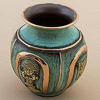 Copper and bronze decorative vase, 'Pre-Inca Character' - Copper and Bronze Pre-Incan Decorative Vase Green from Peru