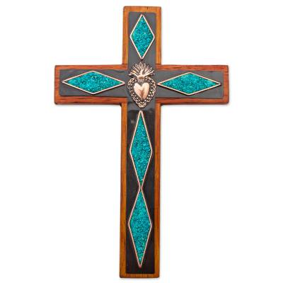 Chrysocolla Copper Bronze Wood Cross Wall Decor from Peru