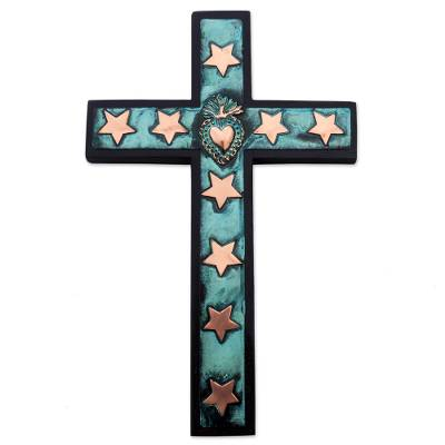 Copper Bronze Wood Wall Decor Cross Heart Stars from Peru