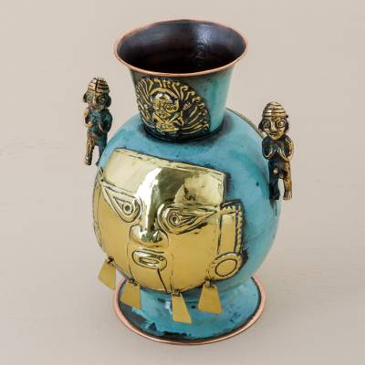 Copper and bronze decorative vase, 'Chancay Face' - Copper and Bronze Decorative Chancay Vase from Peru