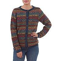 100% alpaca cardigan, 'Diamond Variety' - 100% Alpaca Wool Multicolor Cardigan with Buttons