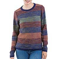 100% alpaca pullover, 'Multicolored Diamonds' - Multicolor 100% Alpaca Wool Pullover from Peru
