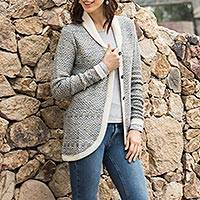 100% alpaca cardigan, 'Textured Andes' - Alpaca Wool Cardigan Prussian Blue Antique White from Peru