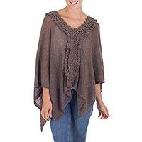 100% baby alpaca cape, 'Taupe Dynasty' - Modern Taupe Poncho Knit Cape in Soft Peruvian Baby Alpaca