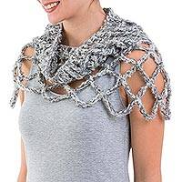 100% alpaca neck warmer, 'Titanium Affair' - Light Grey Alpaca Neck Warmer Capelet Crocheted by Hand