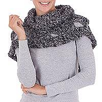 100% alpaca neck warmer, 'Intensely Grey' - Alpaca Neck Warmer Capelet Crocheted by Hand in Dark Grey