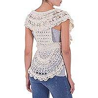 Pima cotton vest, 'Arequipa Charm' - Boho Style Vest Hand-crocheted Pima Cotton Top from Peru