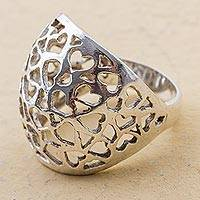 Sterling silver cocktail ring, 'Little Hearts' - Sterling Silver Cocktail Ring with Openwork Hearts from Peru