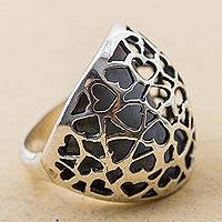 Sterling silver cocktail ring, 'Little Shadow Hearts' - Sterling Silver Cocktail Ring with Heart Shapes from Peru