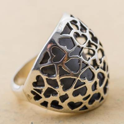 Sterling Silver Cocktail Ring with Heart Shapes from Peru