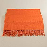 Throw blanket, 'Passionate Flame' - Alpaca Acrylic Blend Throw Blanket in Flame from Peru