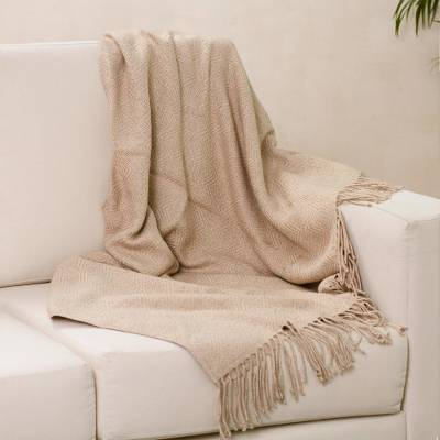 Throw blanket, 'Sandy Passion' - Alpaca Acrylic Blend Throw Blanket in Sand from Peru