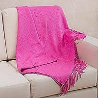 Acrylic and alpaca blend blanket, 'Passionate Fuchsia' - Fuchsia Alpaca Acrylic Blend Blanket with Fringe from Peru