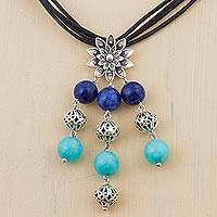 Lapis lazuli and amazonite pendant necklace, 'Spreading Lotus' - Sterling Silver Lapis and Amazonite Pendant Necklace