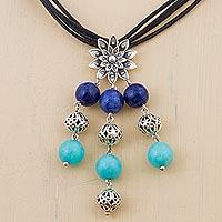 Lapis lazuli and amazonite pendant necklace,