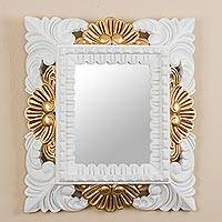 Mohena wood mirror, 'Cloud Reflection' - Antiqued Rectangular Mohena Wood Wall Mirror from Peru