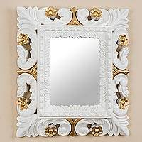 Mohena wood wall mirror, 'Golden Flowers' - Antiqued Rectangular Mohena Wood Wall Mirror from Peru