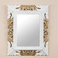 Mohena wood wall mirror, 'Princess' - Antiqued Rectangular Mohena Wood Wall Mirror from Peru