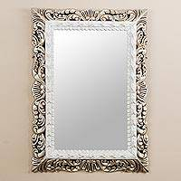Mohena wood wall mirror, 'Majesty' - Antiqued Mohena Wood Rectangular Wall Mirror from Peru