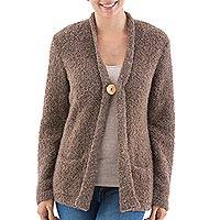 Alpaca blend boucle cardigan, 'Wheat Brown' - Artisan Crafted Brown Alpaca Blend Cardigan from the Andes