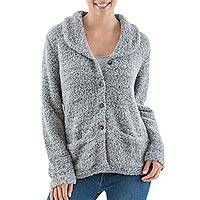 Alpaca blend boucle cardigan, 'Pearl Grey' - Andes Artisan Crafted Alpaca Blend Grey Cardigan with Collar