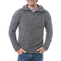 Men's alpaca blend sweater, 'Stone Grey' - Men's Alpaca Blend Grey Sweater with Zipper Collar from Peru