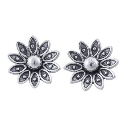 Sterling Silver Floral Stud Earrings from Peru