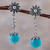 Amazonite dangle earrings, 'Lotus Chains' - Sterling Silver Amazonite Dangle Earrings Floral from Peru